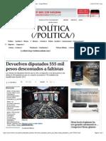 09-01-15 Devuelven Diputados 555 Mil Pesos Descontados a Faltistas - Grupo Milenio