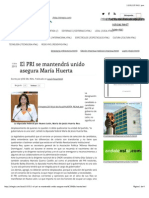 12-01-15 El PRI Se Mantendrá Unido Asegura María Huerta