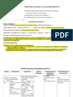 Estructura de La Matriz Para El Rediseño de Los Programas Analìticos