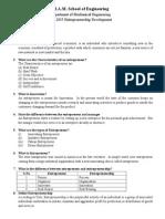 ME 2035 Entrepreneurship Development Question Bank