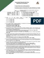 2a Lista de Exercícios de Bioestatística