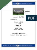 Internship Report on Bank Alfalah