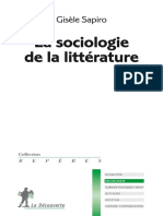 La Sociologie de La Litterature - Sapiro Gisele