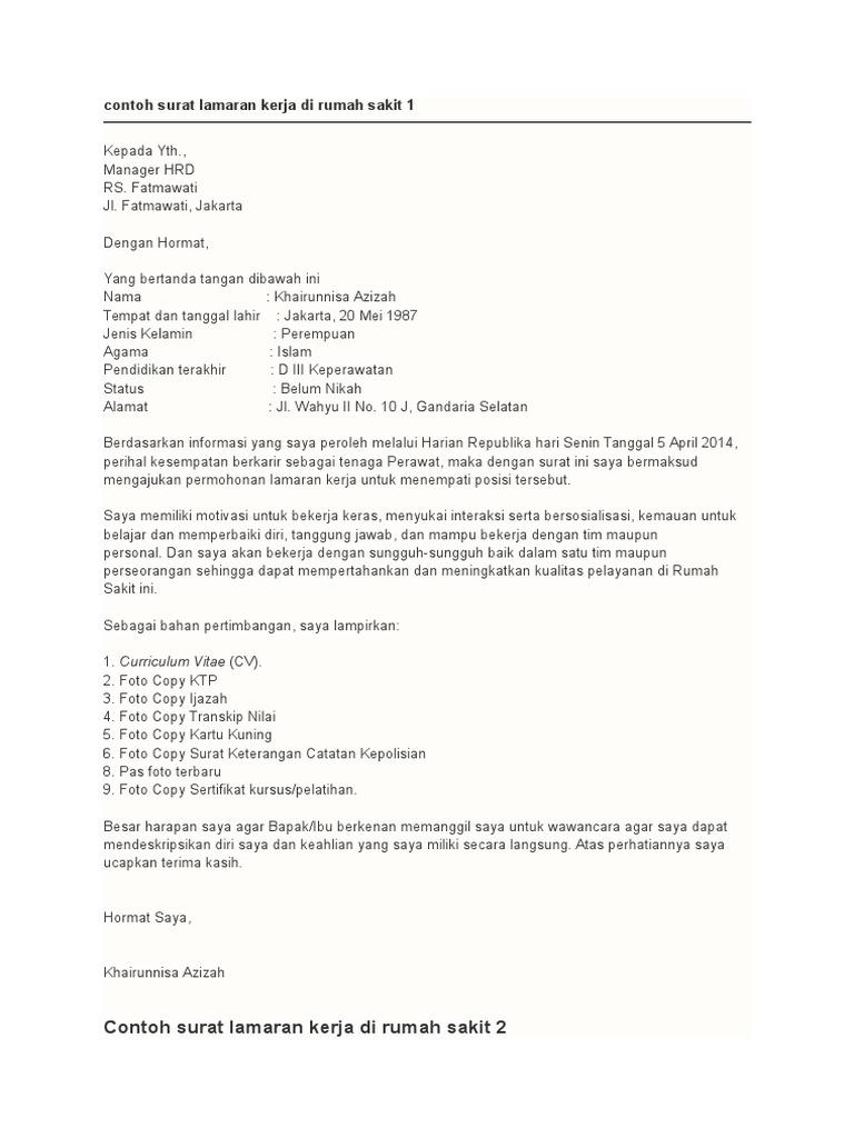 Contoh Cv Melamar Kerja Di Rumah Sakit Best Resume Examples