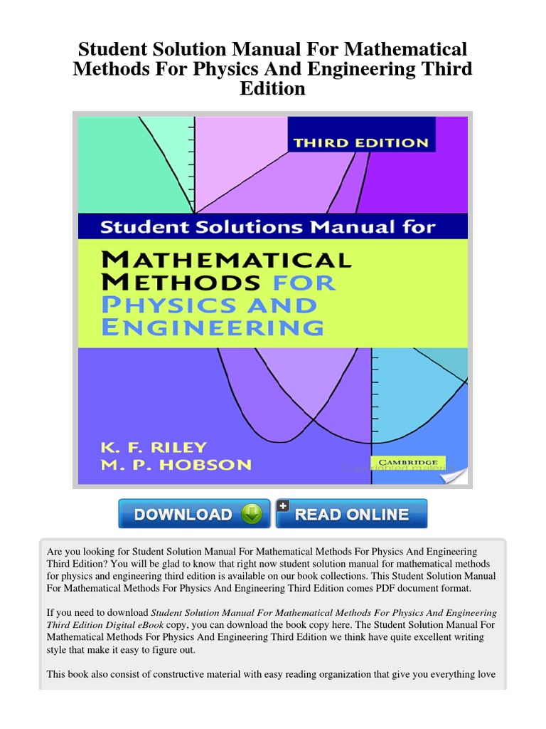 Student solution manual for mathematical methods for physics and student solution manual for mathematical methods for physics and engineering third edition engineering physics mathematics fandeluxe Image collections