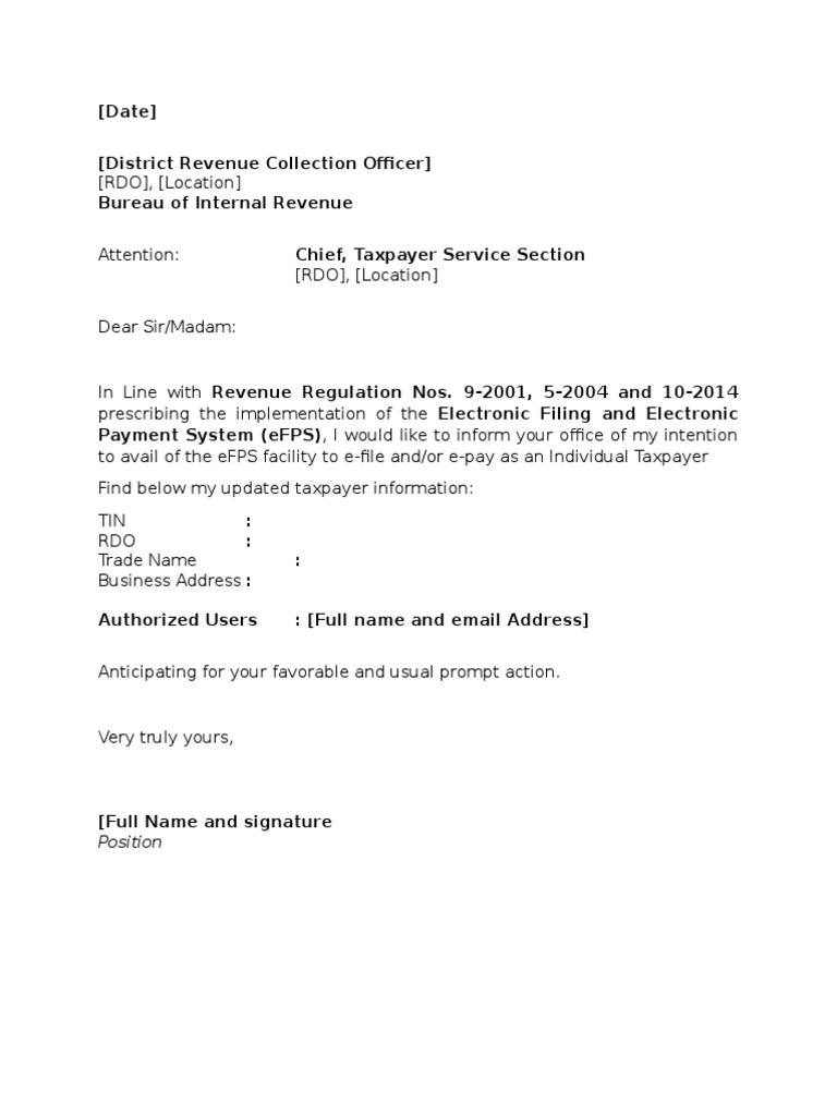 Sample template efps letter of intent for individual taxpayer template bir efps letter of intentions individual tax payer spiritdancerdesigns Gallery