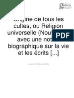 Origine de tous les cultes, ou religion universelle