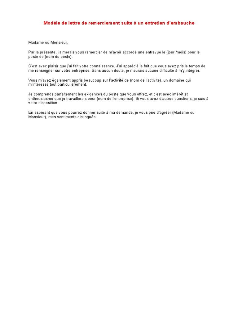 Exemple Mail De Remerciement Apres Entretien Dembauche