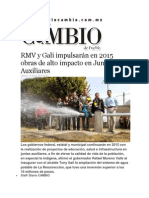 10-01-2015 Diario Matutino Cambio de Puebla - RMV y Gali Impulsarán en 2015 Obras de Alto Impacto en Juntas Auxiliares