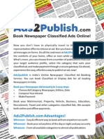 Book Newspaper Classified Ads Online Ads2Publish