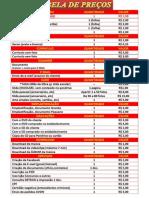 Serviços Tabela de Preços Pronta