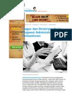 Tugas Dan Deskripsi Kerja Pegawai Administrasi Perkantoran - ANNEAHIRA