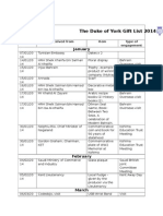 The Duke of York - Official Gifts List 2014