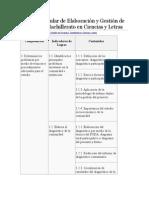 Malla Curricular de Investigacion y Gestion de Proyectos de Bachillerato de Ciencias y Letras