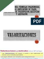 Valorizaciones, Fórmulas Polinómicas, Garantías, Ampliación