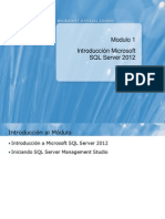 Modulo 1 Introducción a SQL SERVER 2012