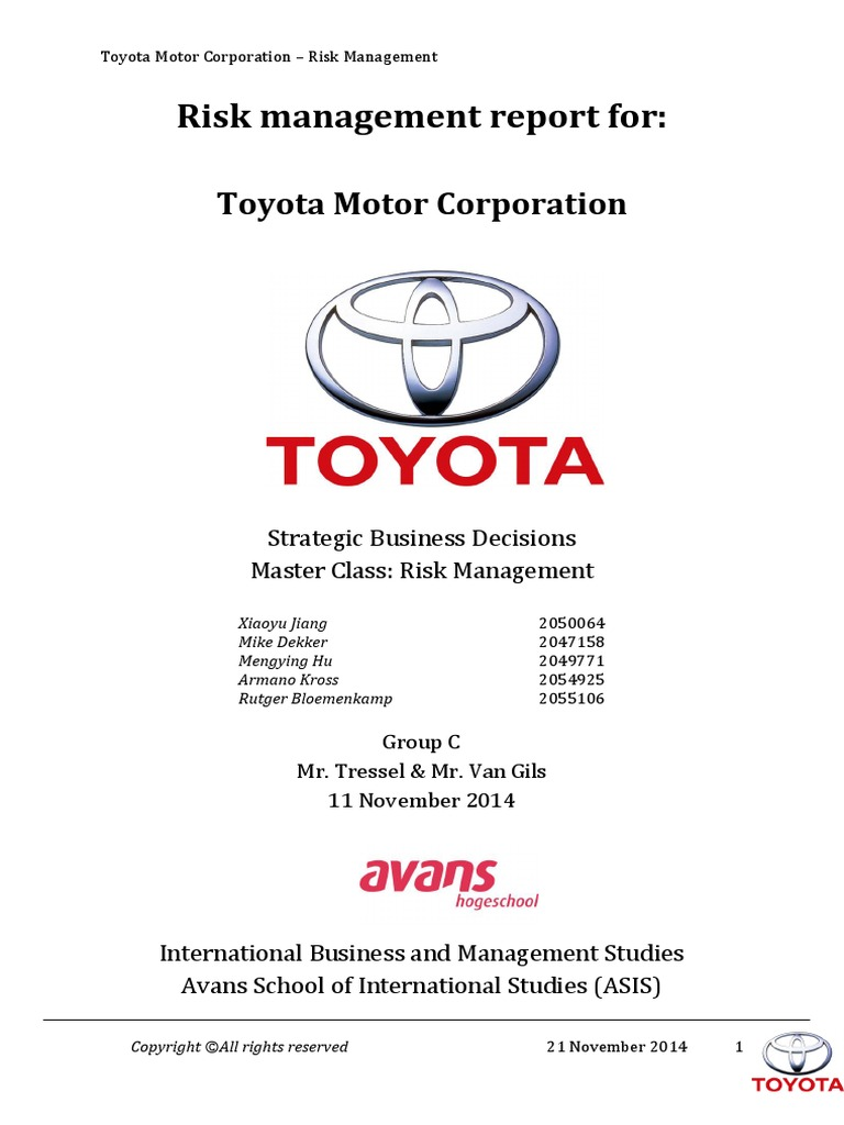 risk management report toyota toyota risk rh scribd com Risk Management Guide FDIC Risk Management Manual