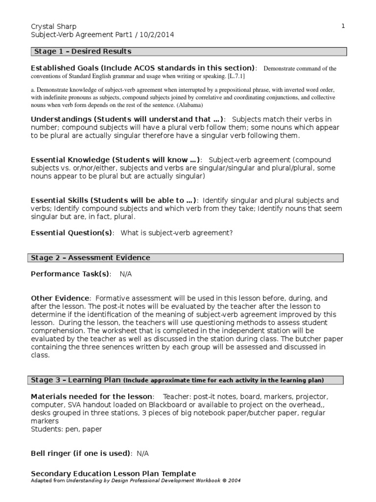 lesson plan fa13 subject verb agreement Grammatical Number – Subject Verb Agreement Worksheet with Answers