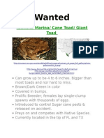 cane toad wanted poster