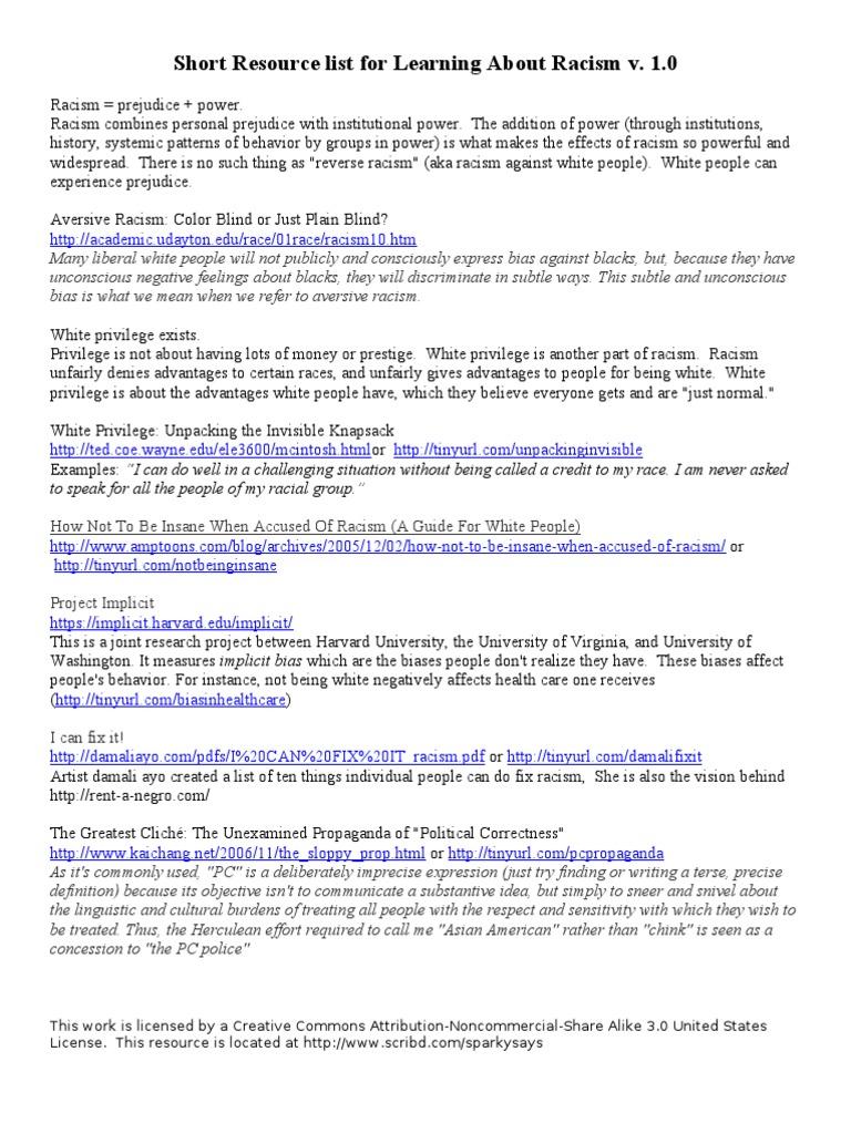 Short Racism Resource List Racism Ethnicity Race Gender