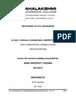 Ce 2258 Hydraulic Engineering Laboratory Manual