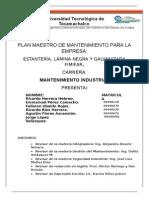 EJEMPLO DE PLAN MAESTRO DE MANTENIMIENTO