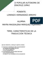 Caracteristicas de La Traducción Ténica- Examen Mayra