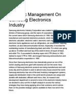 Strategic Management on Samsung Electronics Industry