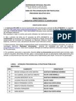 Processo Seletivo 2014 Psico Lista Aprovados Final