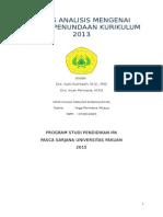Tugas Analisis Mengenai Alasan Penundaan Kurikulum 2013