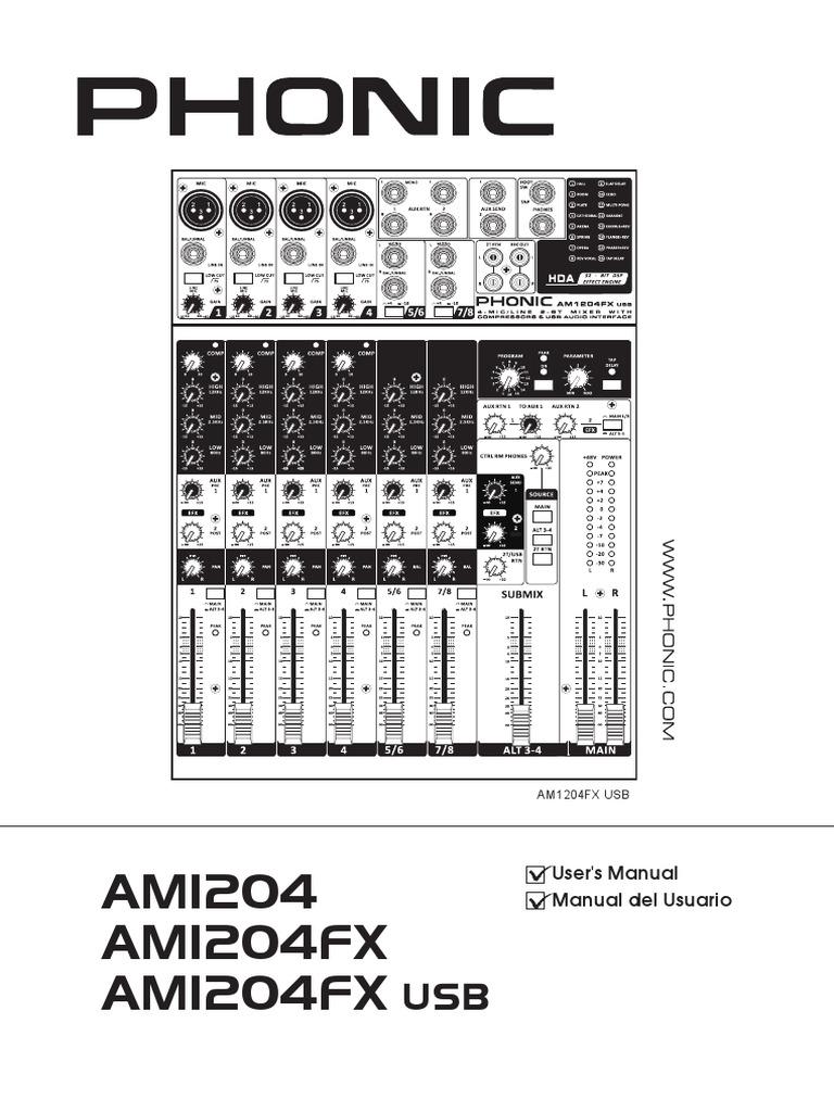 Manual Phonic AM1204 AM1204FX AM1204FX USB en Es