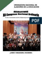 Resolutivos XII Congreso Nacional Ordinario Cnte