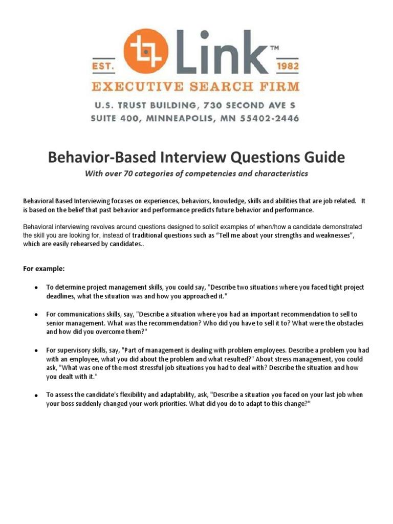 Link Behavior Interview Questions   Creativity   Trust (Emotion)