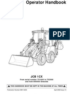JCB 1CX Operators Manual | Loader (Equipment) | Mechanical ... Jcb Mini Cx Wiring Diagram on