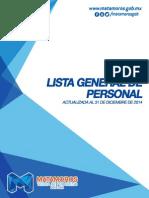 Lista General del Personal del Municipio de Matamoros Diciembre