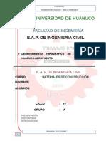 MONOGRAFÍA DE LEVANTAMIENTO TOPOGRAFICO DE LA CARRETERA HUANUCO-AEROPUERTO 1