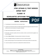 NTSE SAT 2015 Sample Paper