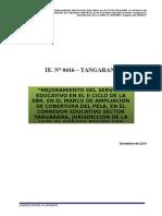 CALCULO SANITARIAS TANGARANA(del proyecto de tangarana), con la finalidad de obtener volumen de reservorio elevado, cisterna, electrobombas y otros, para la comunidad de tangarana