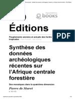De Maret, Pierre Synthèse Données Archéologiques