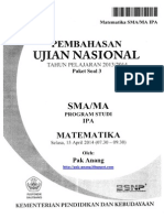 Pembahasan Soal UN Matematika Program IPA SMA 2014 Paket 3 (Full Version)