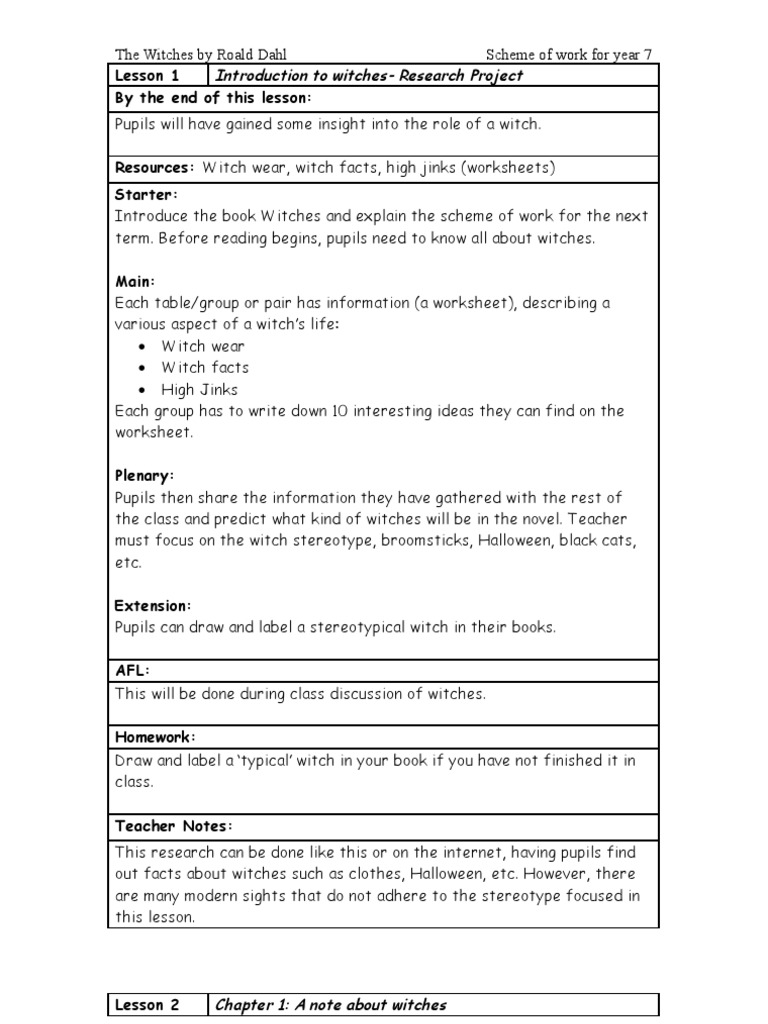 Workbooks the witches roald dahl worksheets : Witches SOW