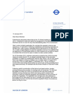 Sir Peter Hendy's letter to TfL board