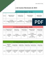 Calendário Exames Nacionais 2014/2015