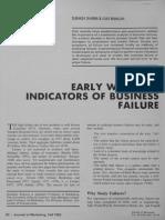 Sharma & Mahajan (1980) Early Warning Indicators of Business Failure