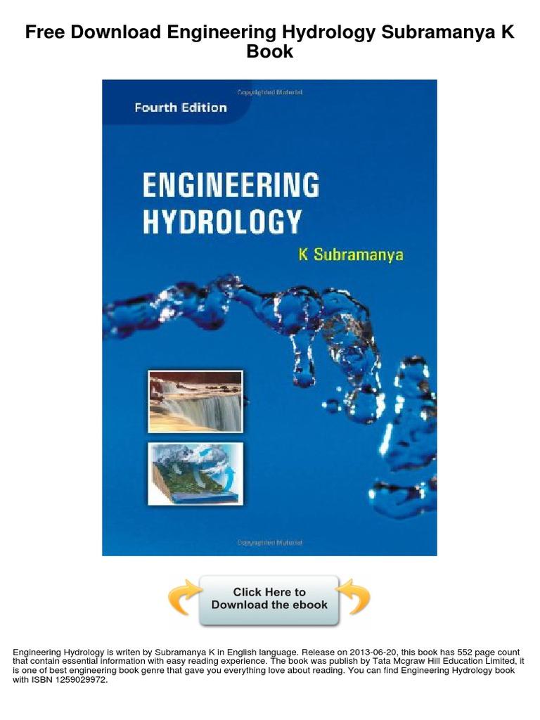 engineering hydrology subramanya k hydrology water resources rh es scribd com engineering hydrology k subramanya solution manual Agricultural Engineering