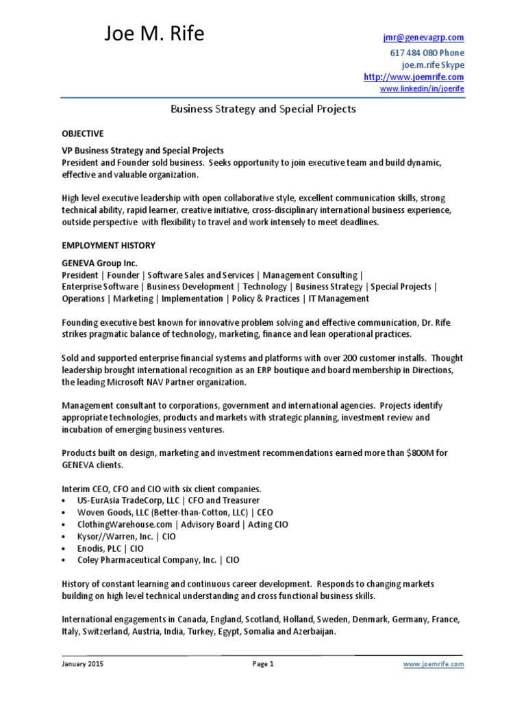 VP Business Strategy Special Projects in Boston MA Resume