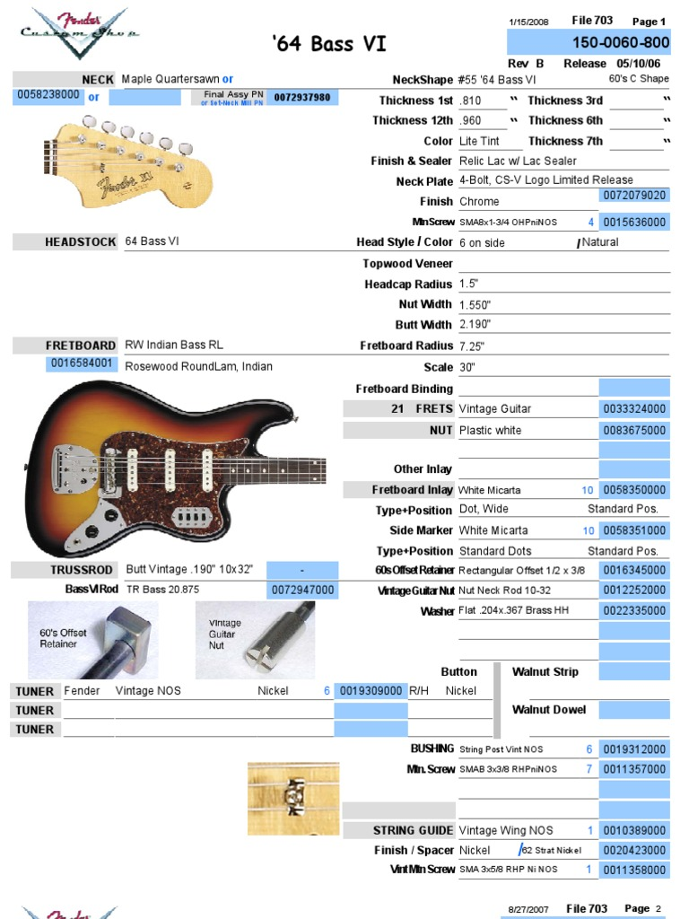 1964 fender bass vi parts list and wiring chart rh scribd com fender bass vi wiring diagram J Bass Wiring