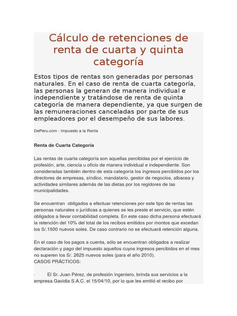 Renta De Cuarta Categoria — Sceneups