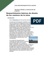 Diseño y Monitoreo Del Desempeño de Los Caminos de La Mina