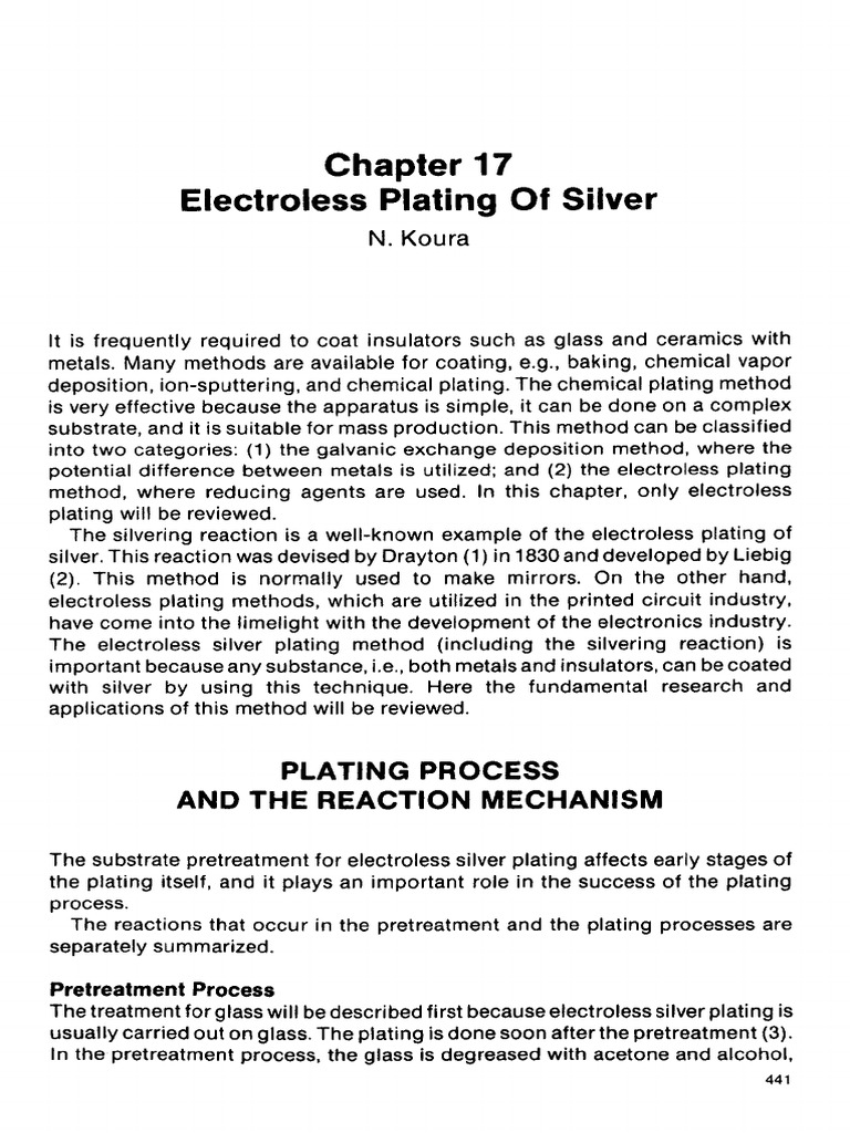 Electroless Silverplating Chapter From Electroless Plating